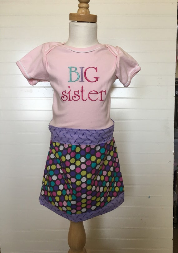 Big sister dress ready to ship, new baby sibling shirt, im a big sister, embroidered, custom shirt, big sis dress pink purple teal gray dots