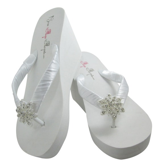 or Flat Bride Jeweled wedges Bridal Bridesmaid amp; Flip for rhinestone Flops with bling White colors Choose Ivory the part Wedding Cznwdqw5
