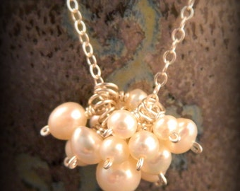Pearl Cluster Necklace Sterling Silver