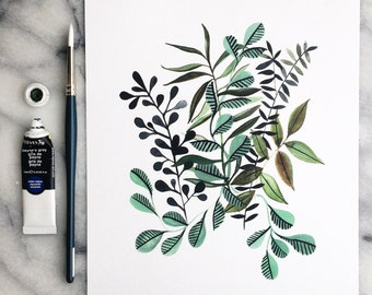 MINTY FLORA with Leaves 8x10 // Art WATERCOLOR Ink Print Garden Leaves Indoor Plant Paynes Gray