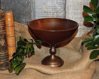 Antique Pedestal Compote Dish Wood Bowl Sterling Silver Weighted Base