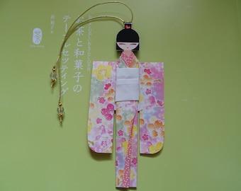 BMA00003 Japanese Origami Geisha bookmark Shiori Ningyo Washi Chiyogami Yuzen Kokeshi paper craft back to school