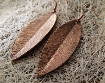 Leaf-shaped Earrings Pure Copper Hand-made
