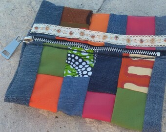small patchwork clutch bag