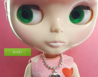 necklace for Blythe - silver ball chain with topaz/brown epoxy heart pendant B195T