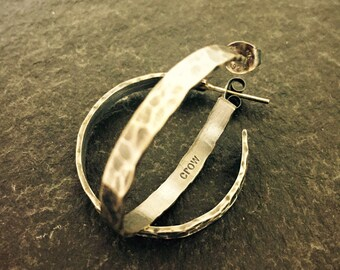 Oxidized Hammered Sterling Silver Hoop Earrings