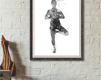 Yoga Print, Yoga Decor, Yoga Painting, Yoga Wall Art, Yoga Pose Print, Yoga Watercolor, Yoga Art, Yoga Gift Black and White (A0452)