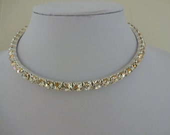 Vintage Diamante Choker, Diamante Necklace, Rhinestone Choker, Rhinestone Necklace, Crystal Choker, Crystal Necklace
