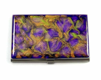 Business Card Case in Hand Painted Enamel in Amethyst Purple and Gold Metal Wallet Personalized and Custom Color Options