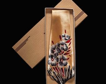 1940s Floral Print Necktie NOS