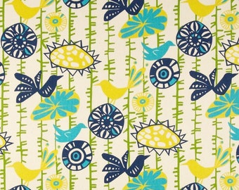 Navy Yellow Green Turquoise Fabric Premier Prints Menagerie Sunshine birds flowers blue upholstery Home Decor - 1 yard or more - SHIPS FAST