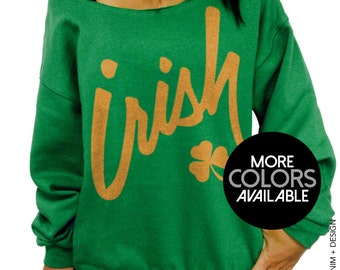 Irish Clover, St Patrick's Day, Off the Shoulder, Oversized, Slouchy Sweatshirt, Womens clothing, Women's Sweatshirt, Ladies top, Green