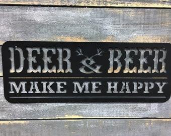 Deer & Beer Make Me Happy Metal Sign