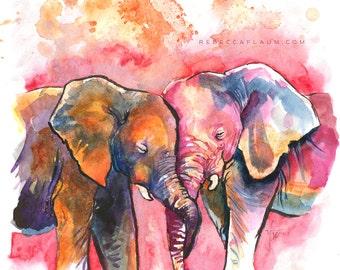 Loving elephants art print // pigment print, archival, 8x10 // Print of watercolor painting of snuggling elephants, love, cuddles, family
