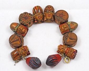 Art Deco & Egyptian Revival Wooden Carved Bracelet