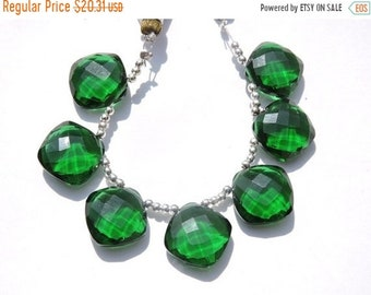 25% OFF Summer Sale 6 PCS Extremely Beautiful AAA Chrome Green Quartz Faceted Cushion Briolette Size 14*14 Mm