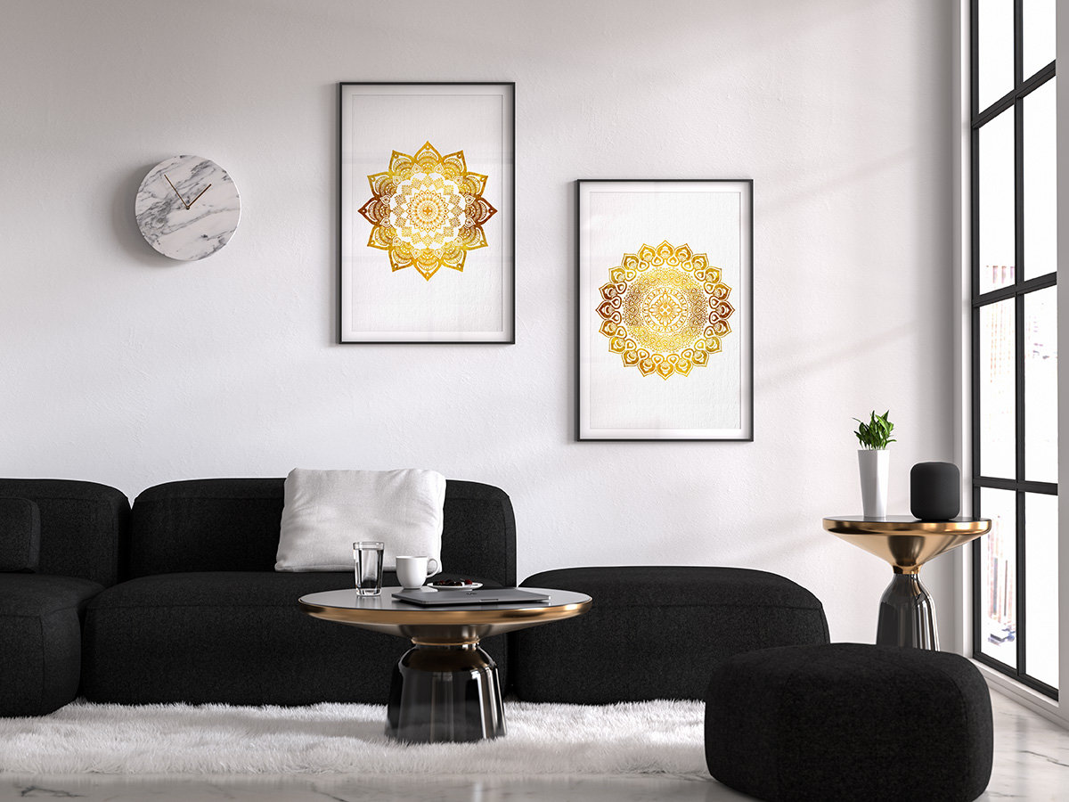 mandala wall art set of 2 prints hindu wall decor golden mandala watercolor art bedroom. Black Bedroom Furniture Sets. Home Design Ideas