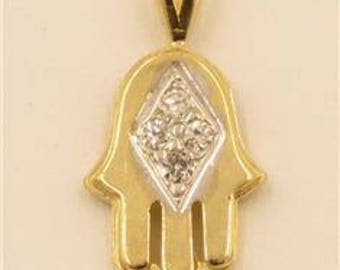 Solid 14k Yellow Gold CZ Hamsa Hand of God Good Luck Symbol Necklace Pendant