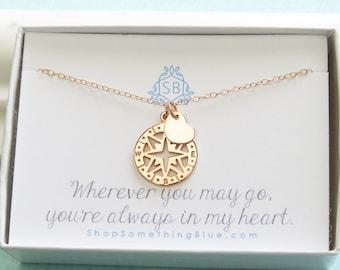 Meilleur ami • boussole Or Rose et coeur • voyage collier • cadeau Sentimental • voyageur cadeau • Compass Rose charme • Bon Voyage cadeau