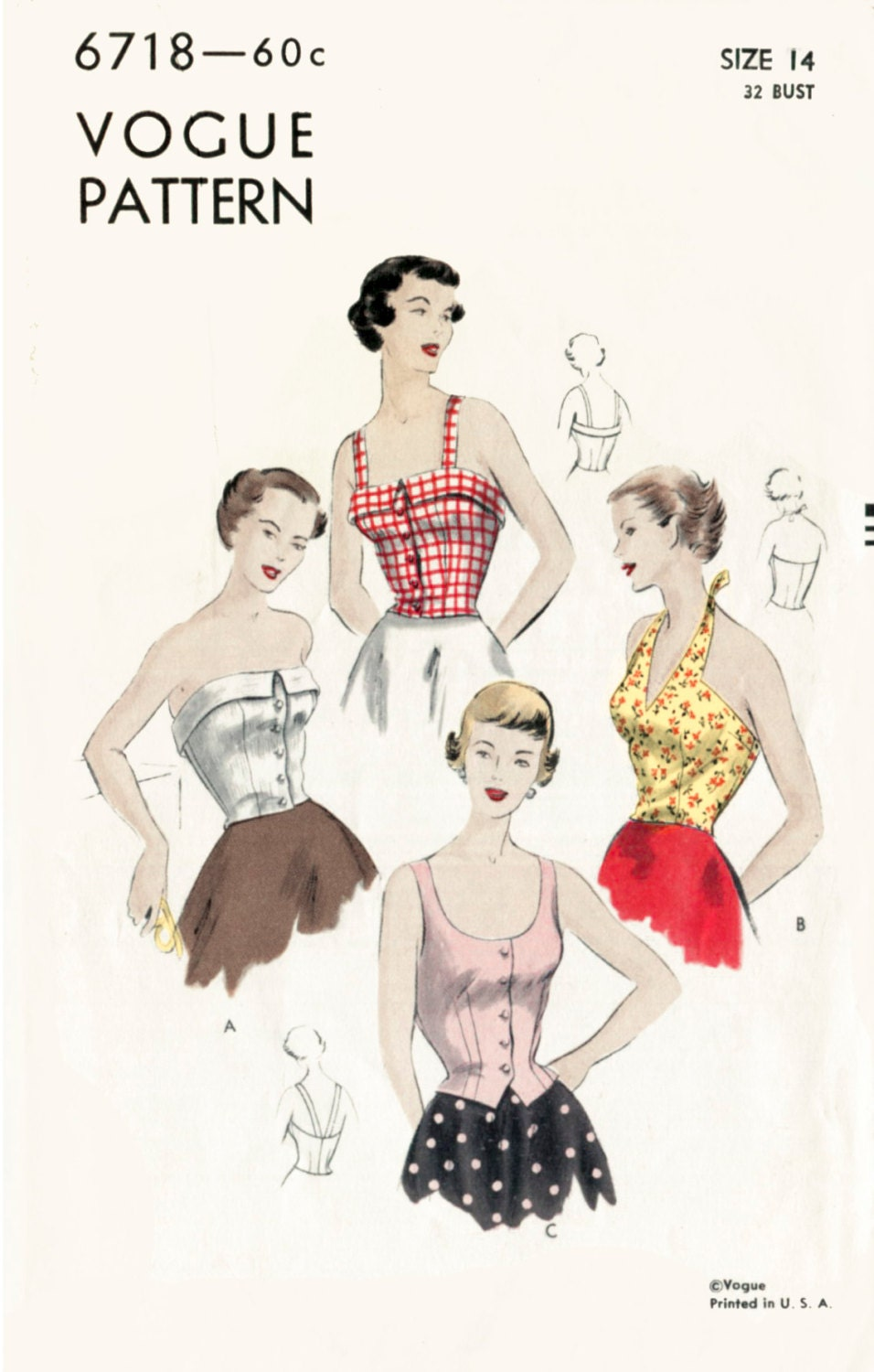 1950s 50s vintage sewing pattern crop top halter blouse 1950s 50s vintage sewing pattern crop top halter blouse bustier fitted bust 32 b32 waist 26 repro jeuxipadfo Choice Image