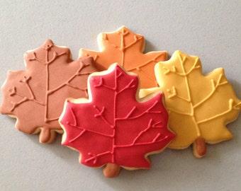 Fall Maple Leaf Sugar Cookies