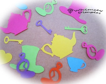Tea Party Confetti, Mad Hatter, Key, PocketWatch, Teapot, Teacup, Whimsical Scrapbook Embellishment Card Making