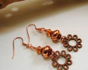Copper & Swarovski Crystal Earrings, Copper Jewelry