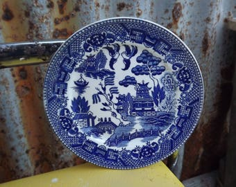 """1920s Blue Willow Japan Round 8 7/8"""" Bowl ~ Authentic Blue Willow 20s Bowl"""