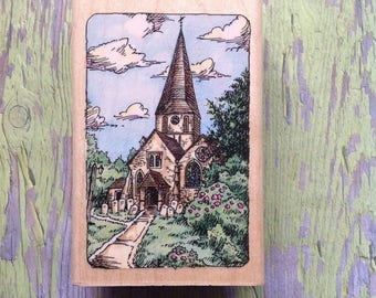 Medium  rubber wood block mounted stamp  | St. James  Steeple | church stamp | Etchling by Stampendous  | card making and crafts |
