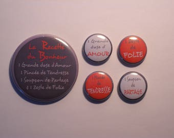 1 magnet 56 mm + 4 magnets 25mm - the recipe for happiness - grey and Red