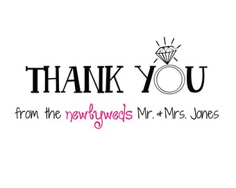 """Thank you card set - """"from the newlyweds"""" (set of 20 cards & envelopes / casual fonts)"""