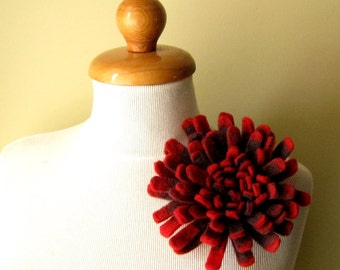 Chrysanthemum in Red and Gray