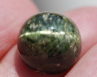 Cat's Eye Green Tourmaline Cabochon, Round, 13mm diameter, 13ct, Brazil