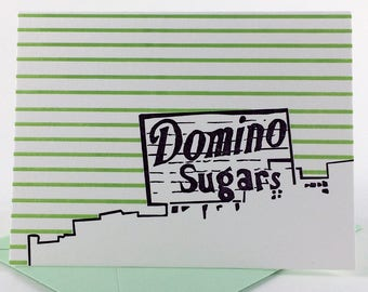 Baltimore Letterpress Card | Domino Sugars Sign | purple & green single blank card with envelope