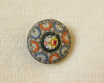 Micro Mosaic Brooch / Vtg / Italian Micro Mosaic Round Pin