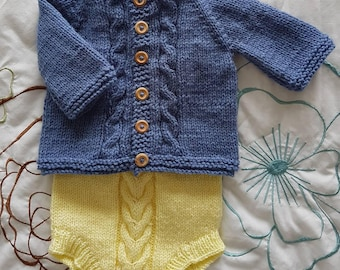Max handknit cable cardigan/0-3months/handmade to order