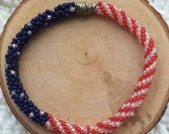 Red, White, and Blue Kumhimo Bracelt