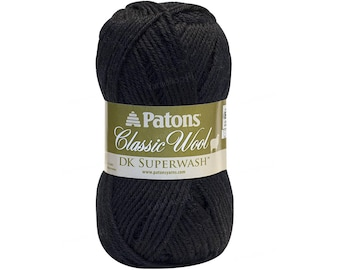BLACK DK Superwash Yarn. Solid Black Patons® Classic Wool DK SuperWash. Class #3 Light Worsted, 100% Pure Wool. Jet Black Color. 1.75oz 50g
