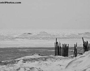 Winter Landscape, Black and White Photography,Frozen Lake Erie, Winter Photographs, Any Size Print, Black and White Decor, Lake Erie 2014