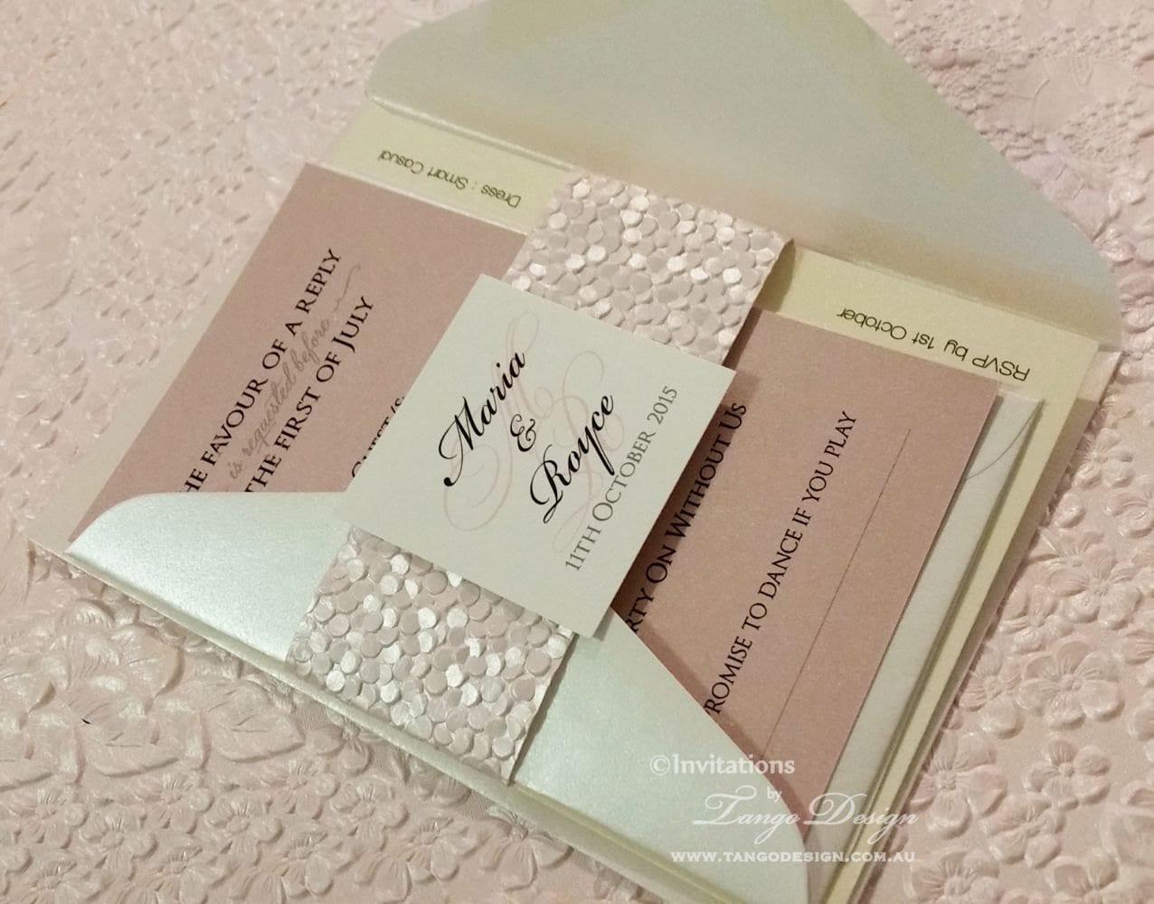rose pink wedding invitation suite personalized invitation
