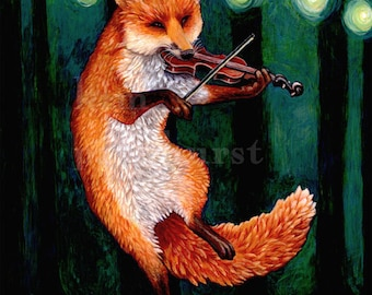 Fiddle Fox Signed Print