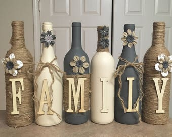 Wine bottle decor Hand painted-family-Custom decorated wine bottles-cream and grey in color