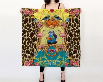 Funky Picasso Giraffe Print with Flowers and Flamingos Satin Charmeuse Scarf