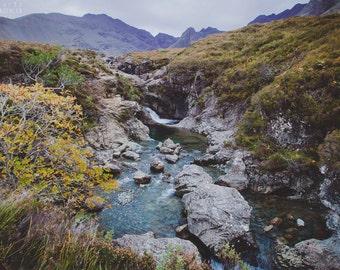 FAIRY POOLS photography print,  Isle of Skye Scotland landscape, 8x12