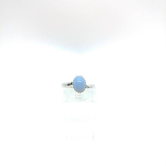 Owyhee Blue Opal Ring | Blue Stone Ring | Sterling Silver Ring Sz 8 | Blue Opal Jewelry | Simple Blue Ring | Oregon Opal Jewelry