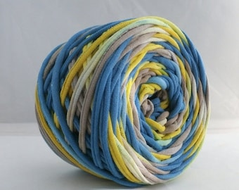 T Shirt Yarn Hand Dyedb60 Yards- Blue/Lemon Yellow/Taupe, T-shirt Yarn, Jersey yarn, Cotton yarn, Upcycled Yarn, T-shirt yarn