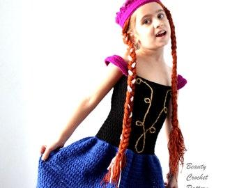 Crochet Anna Dress Pattern, Princess Anna Frozen Dress Crochet Pattern, Crochet Dress Pattern Anna Frozen, Anna Costume Pattern
