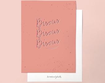 Bisous (Kisses) poster - 18 x 24 cm