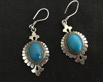 Vintage, silver and turquoise earrings, Southwestern style