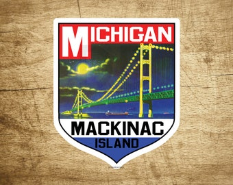 STICKER MACKINAC ISLAND Michigan Bridge Lake Huron Great Lakes Vintage Decal